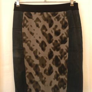 Karen Millen Faux Leather and camp print skirt
